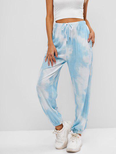 ZAFUL Tie Dye Pocket Drawstring Jogger Pants - Light Blue M