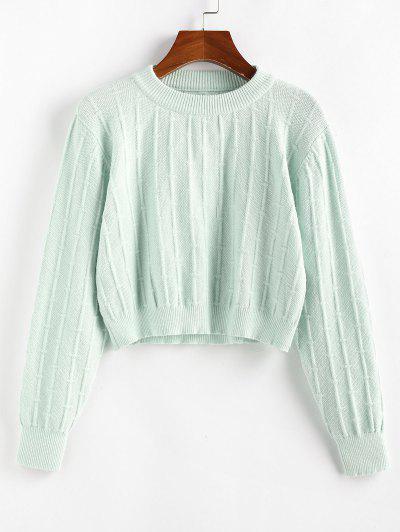 ZAFUL Plain Crop Jumper Sweater - Light Green S