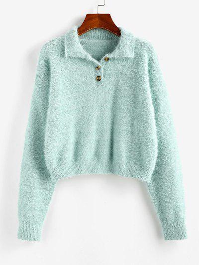 ZAFUL Fuzzy Henley Knitwear - Light Green S