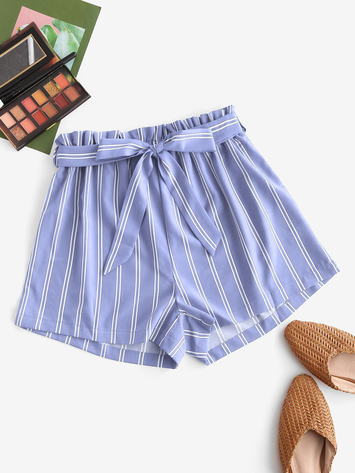 Striped Print Mini Paperbag Shorts