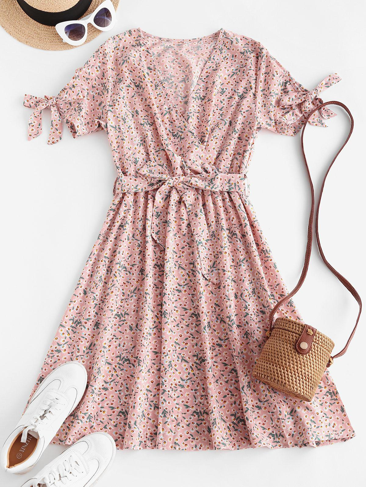 Tiny Floral Print Tie Knot Belted Dress