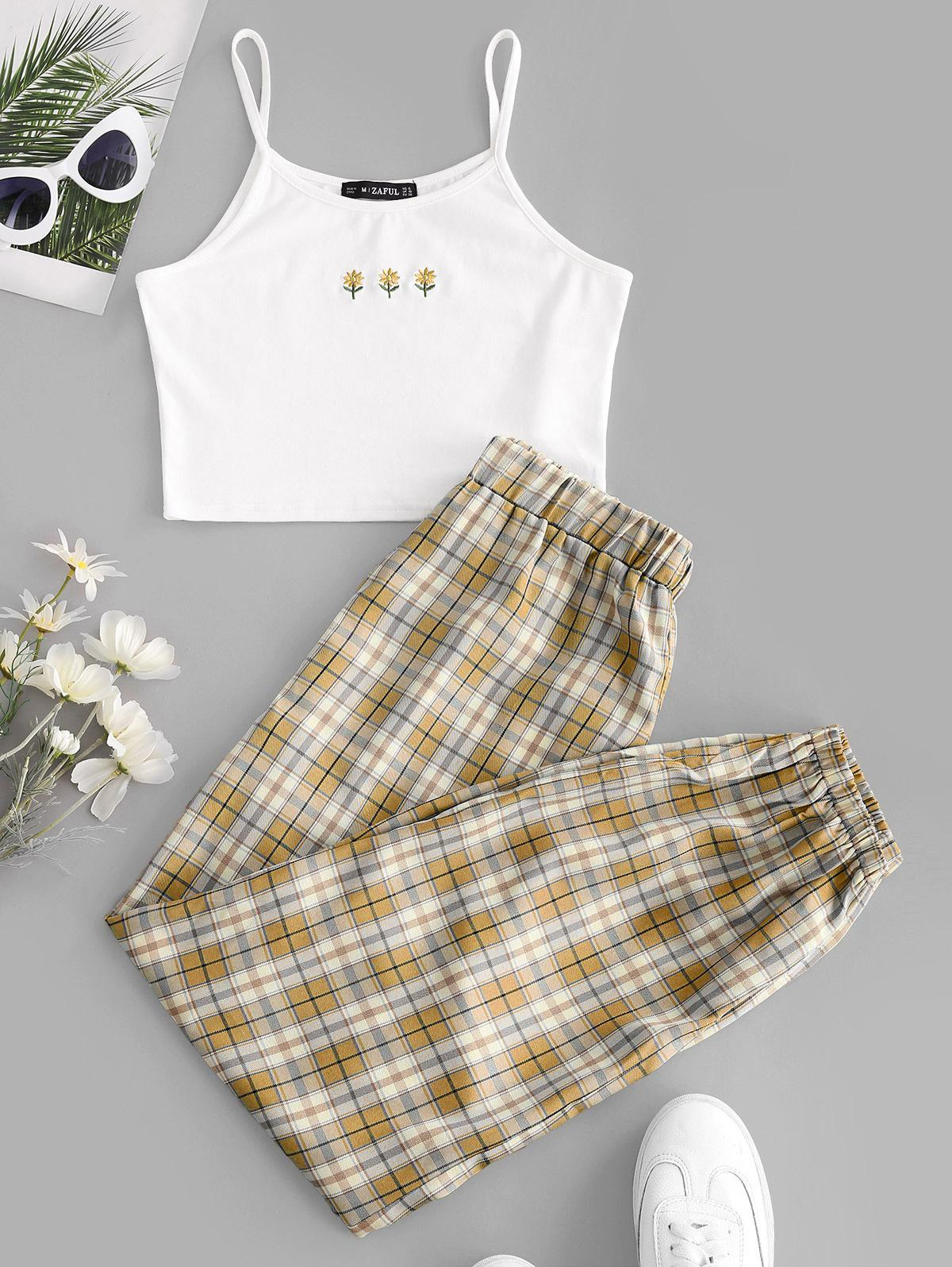 ZAFUL Floral Embroidered Plaid Jogger Two Piece Set