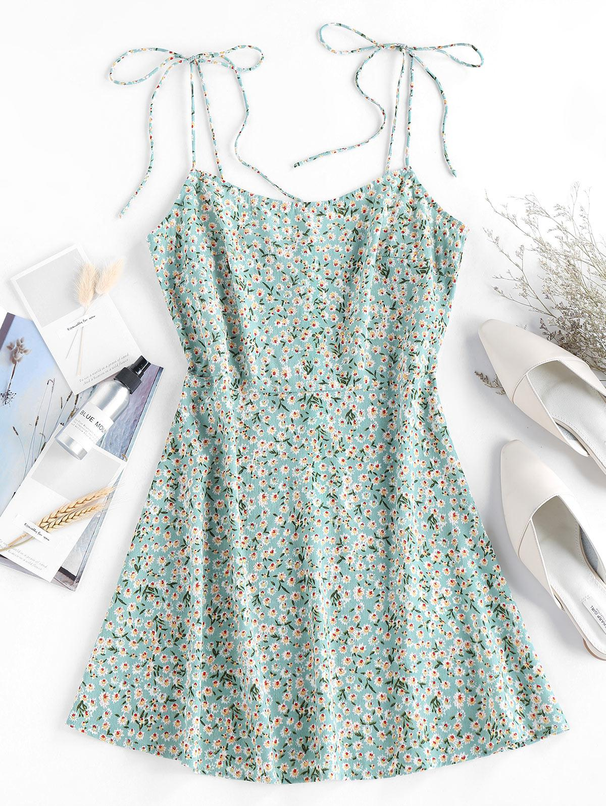ZAFUL Ditsy Floral Tie Cami Summer Dress