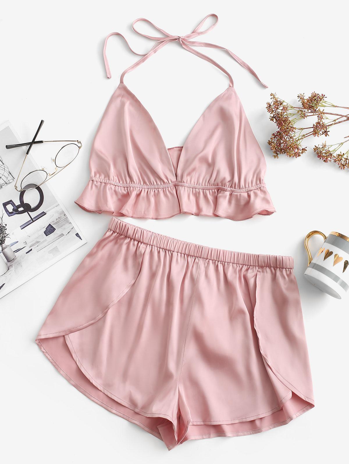 zaful Satin Pajama Shorts Set