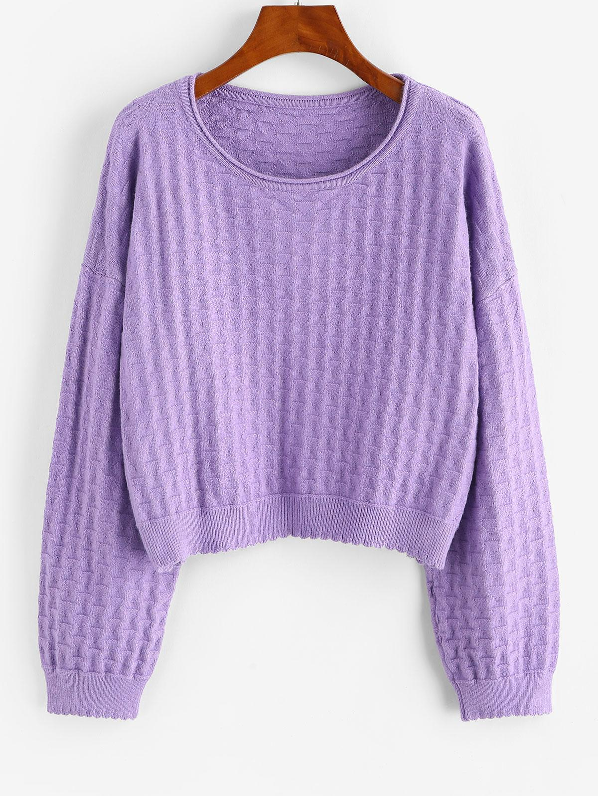 ZAFUL Drop Shoulder Plain Pullover Sweater