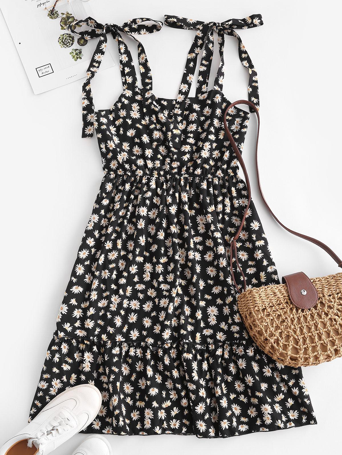 Sleeveless Daisy Print Tie Shoulder Dress