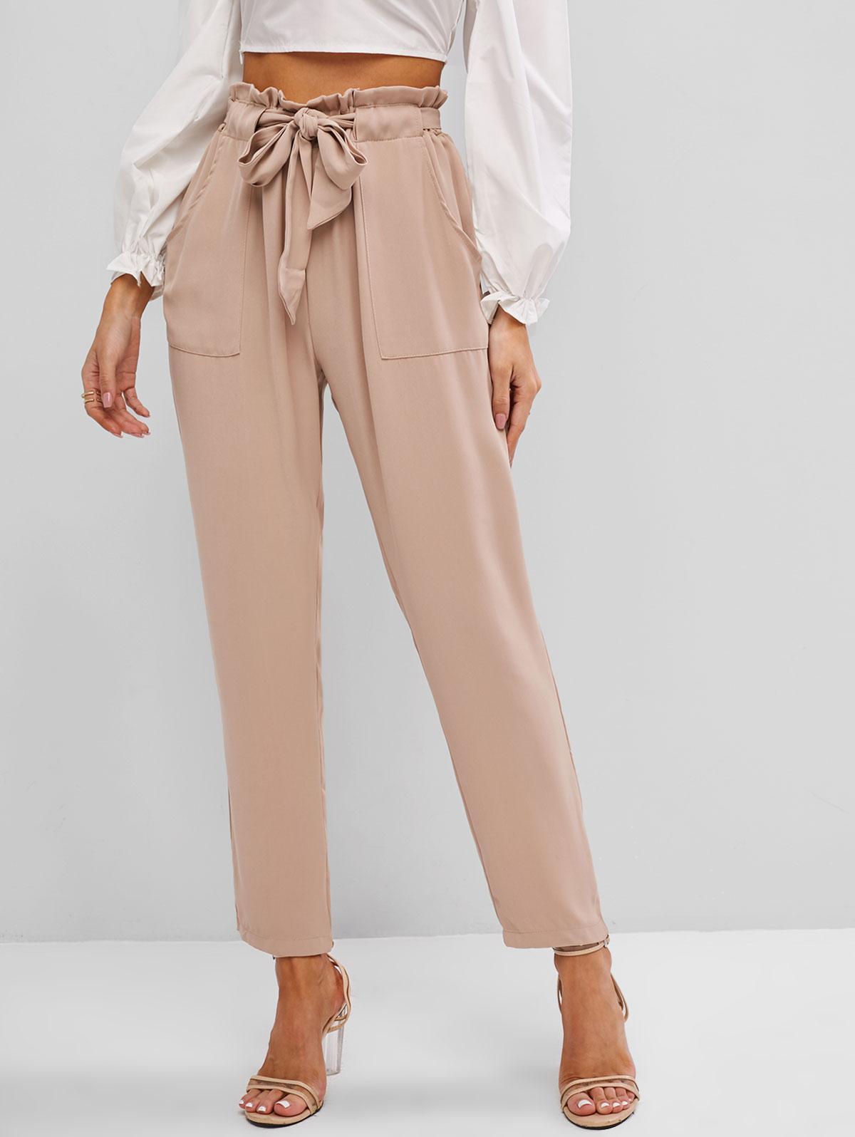 Slant Pockets Belted Paperbag Pants