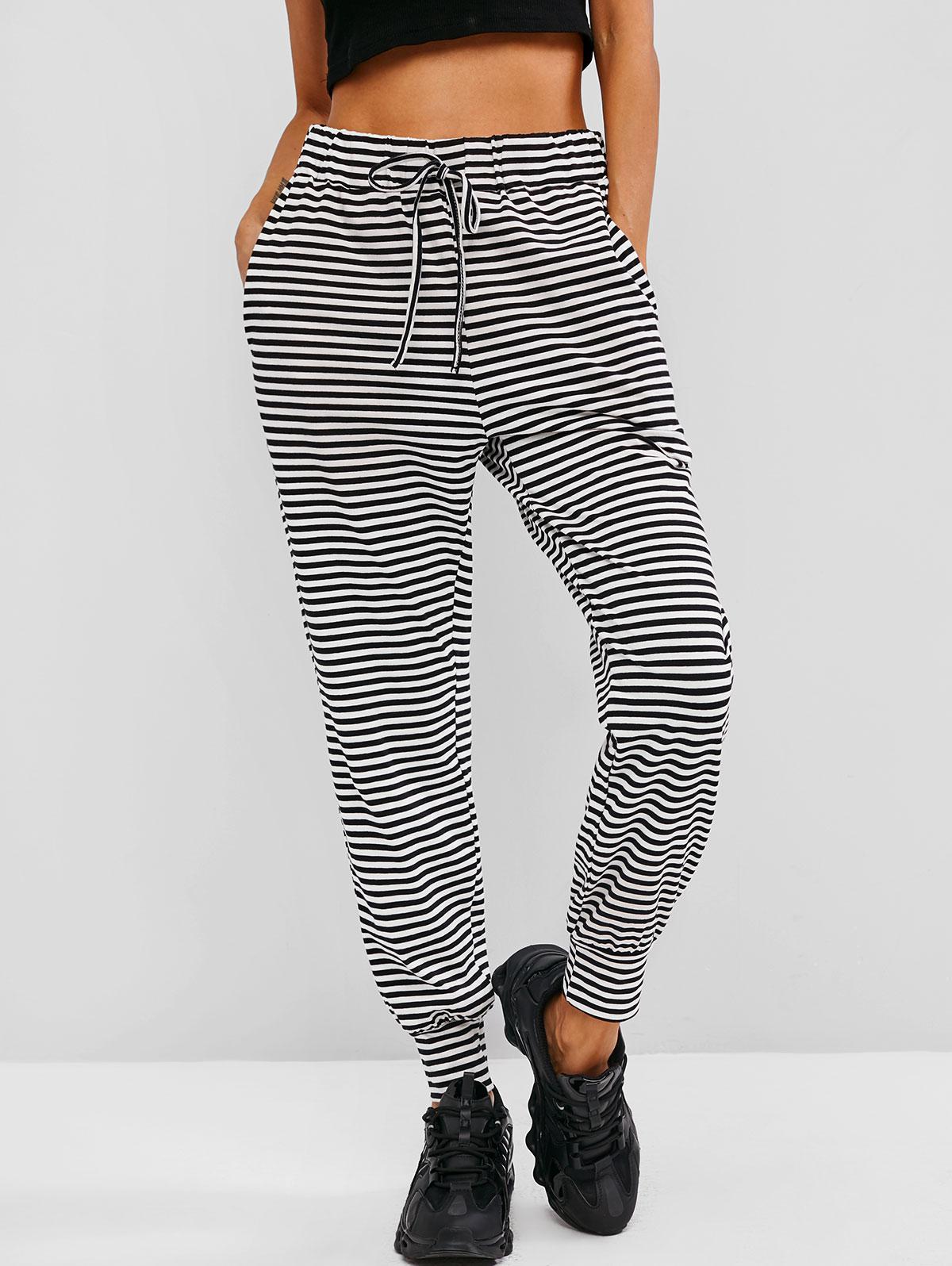 Drawstring Stripes Seam Pockets Sweatpants