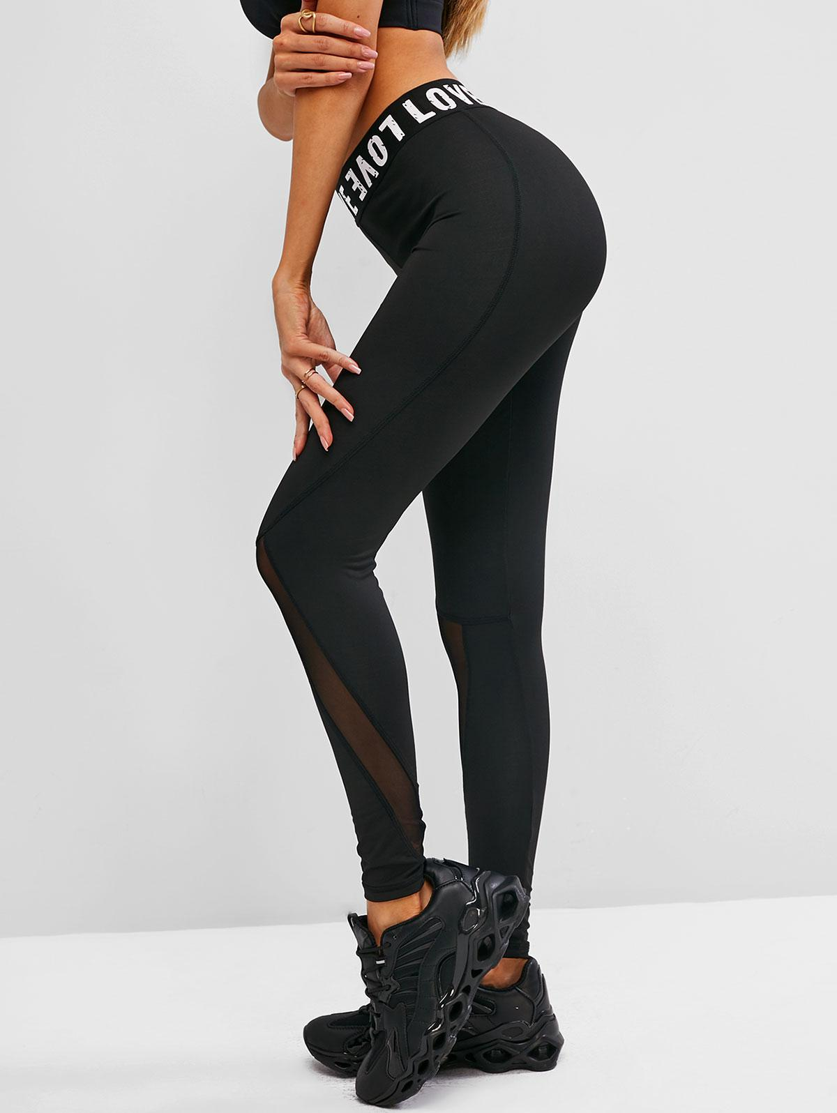 Mesh Insert Letter Graphic Skinny Leggings