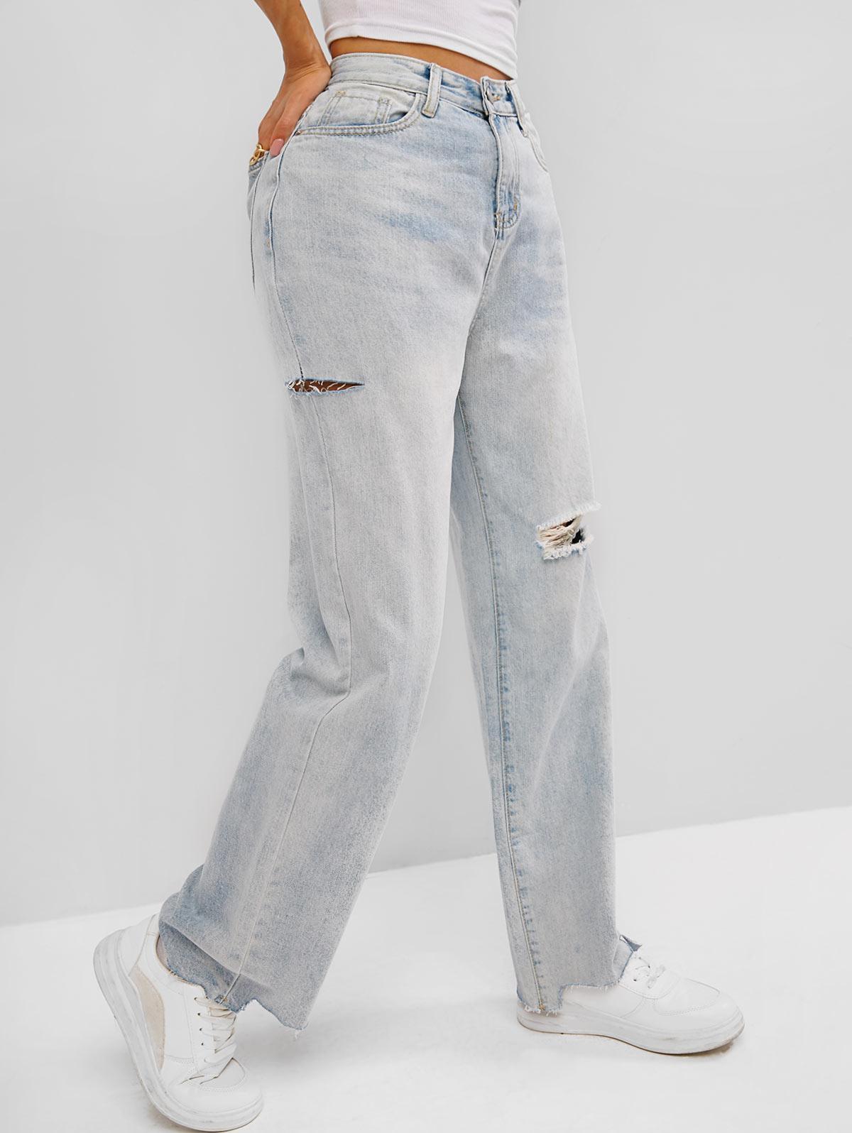Ripped Raw Hem Straight Leg Jeans