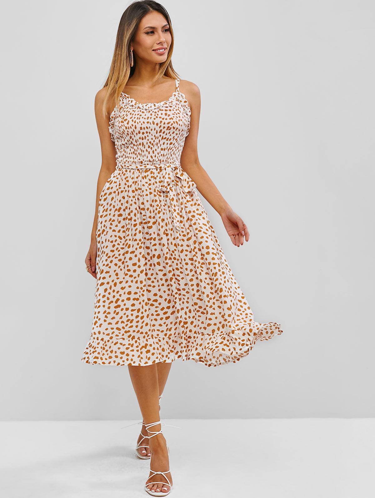 Leopard Smocked Flounce A Line Belted Dress