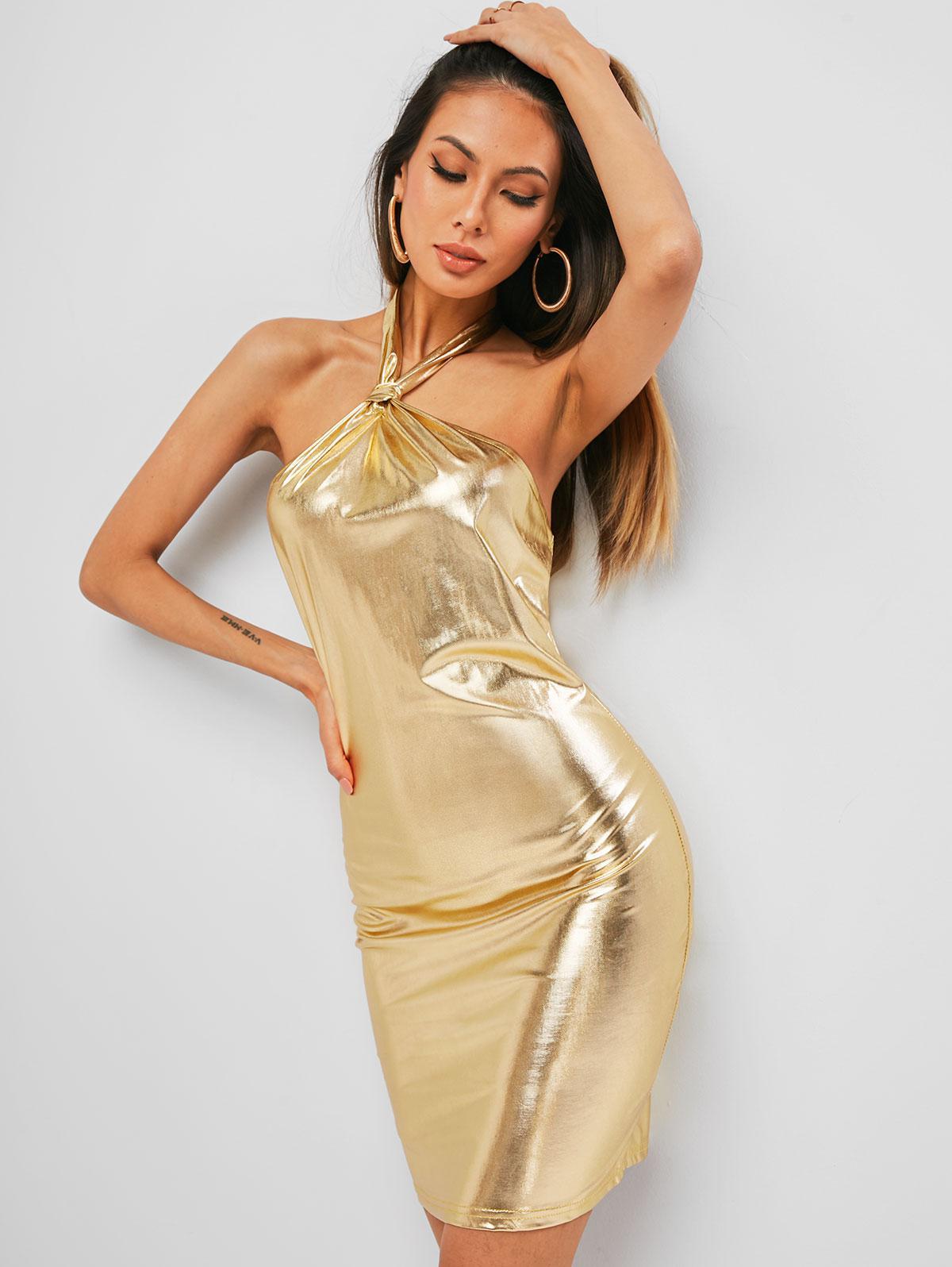 Metallic Halter Backless Bodycon Dress