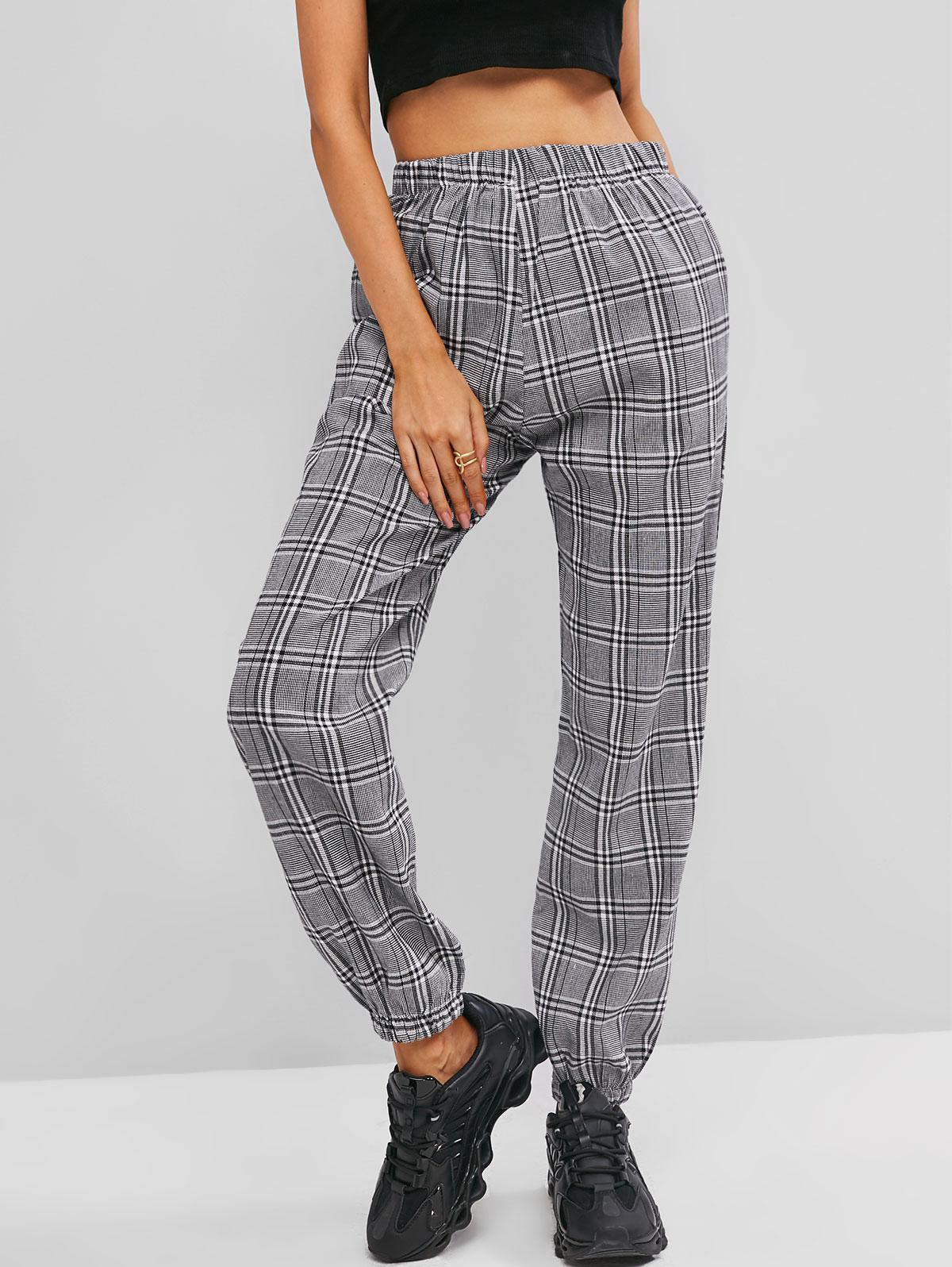 High Waisted Seam Pockets Plaid Jogger Pants