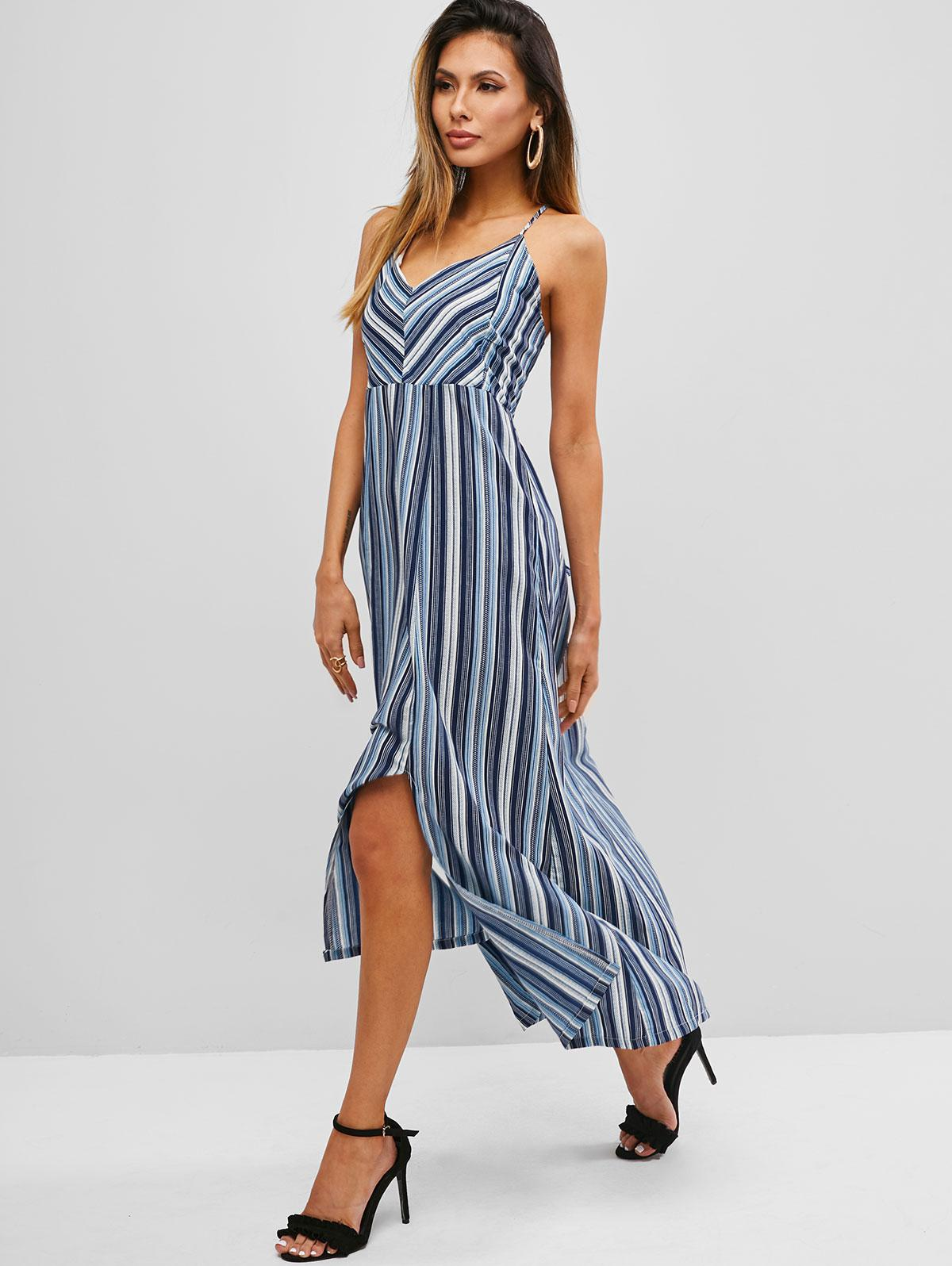 Stripes Lace Up Criss Cross Back Cami Dress