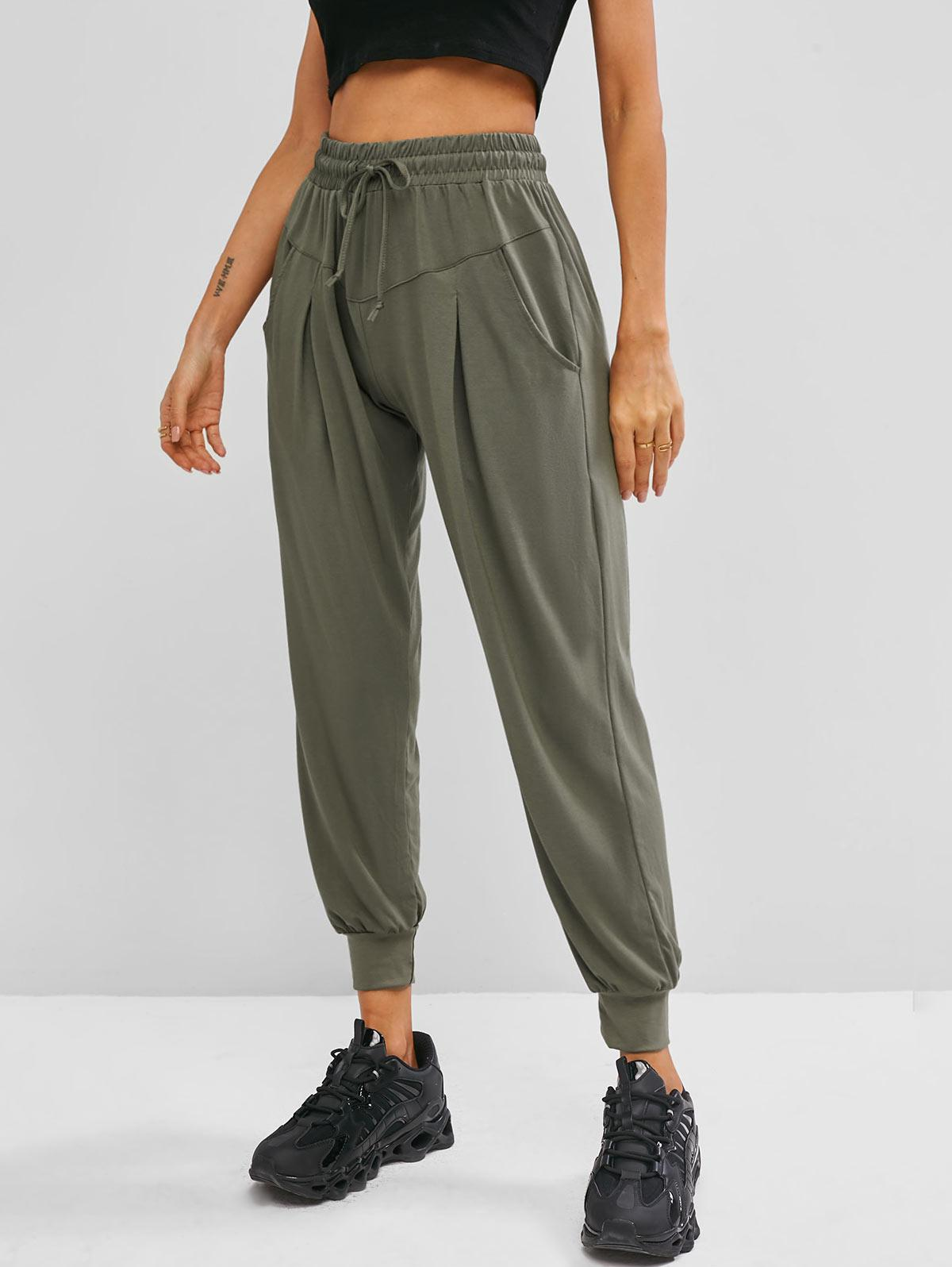 Drawstring High Waisted Slant Pockets Sweatpants