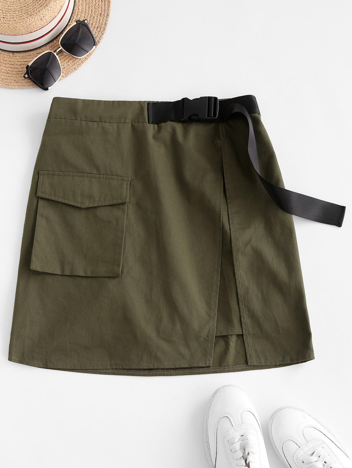 ZAFUL Flap Pocket Overlap Snap Buckle Cargo Skirt
