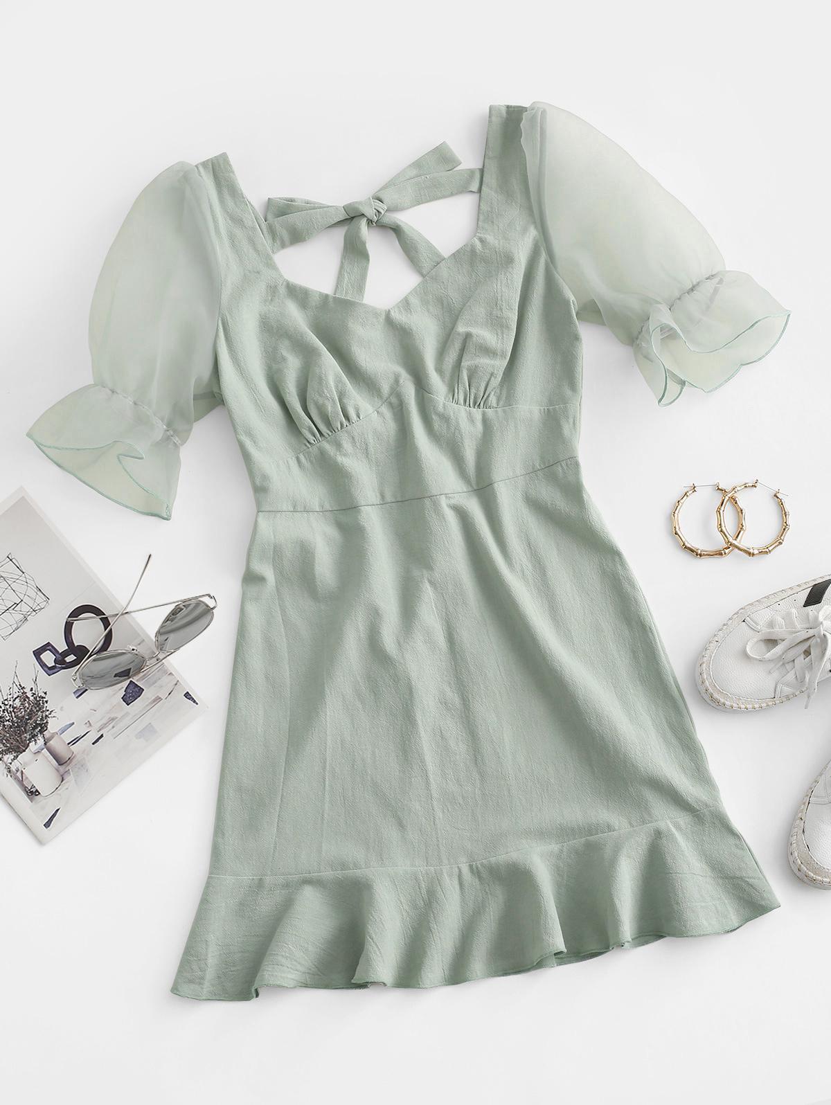 ZAFUL Ruffled Hem Tie Back Organza Sleeve Dress