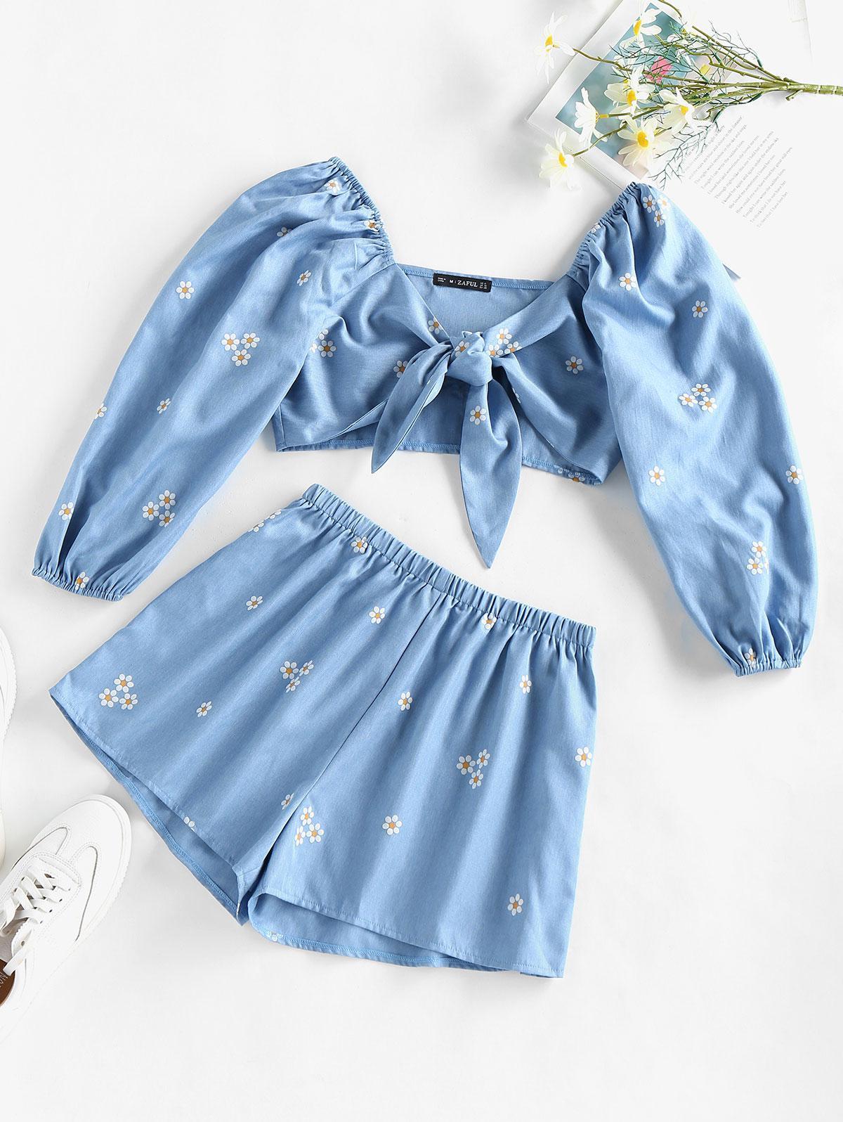 ZAFUL Daisy Print Tie Front Shorts Set