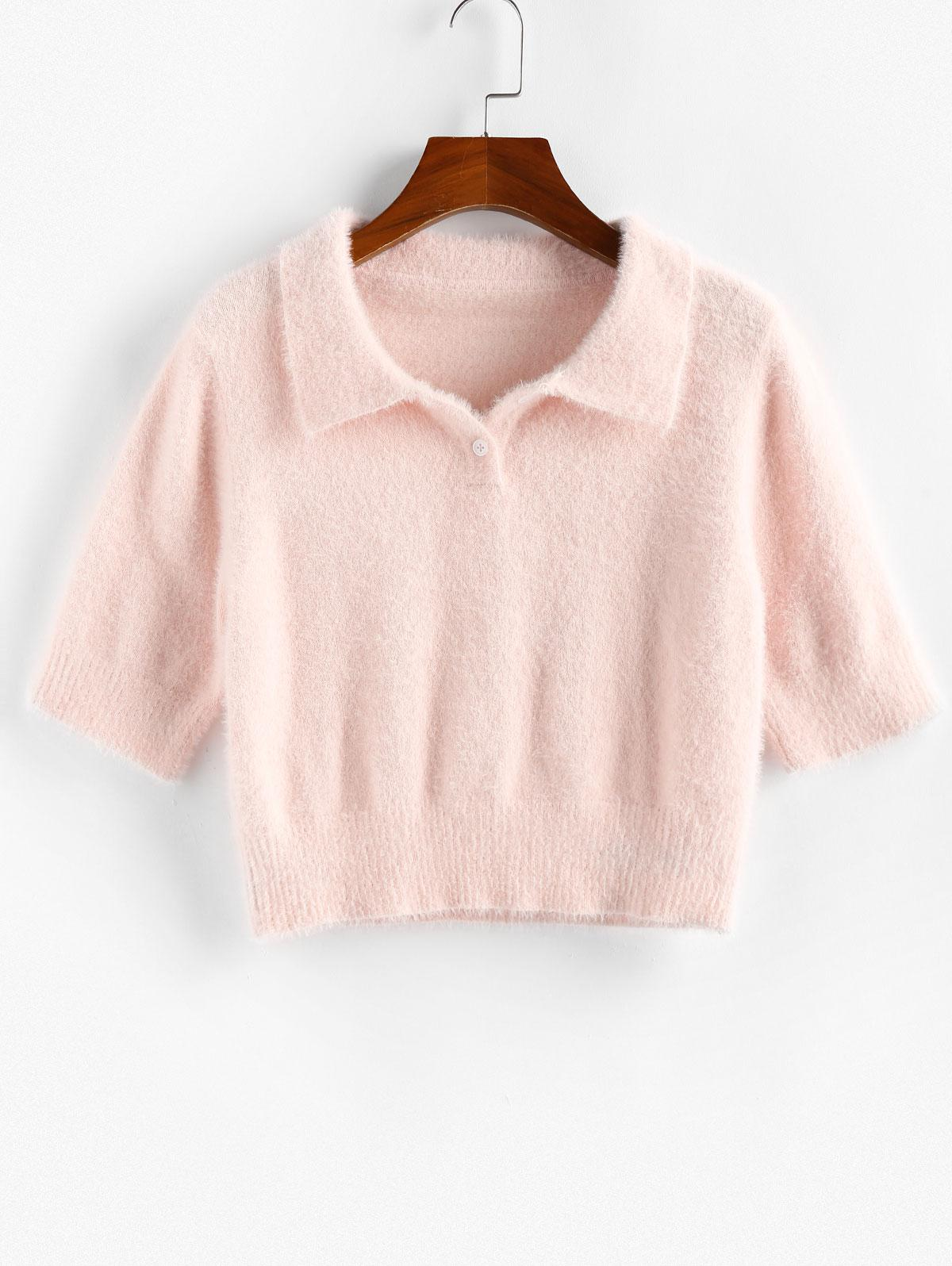 ZAFUL Fuzzy Crop Button Placket Sweater