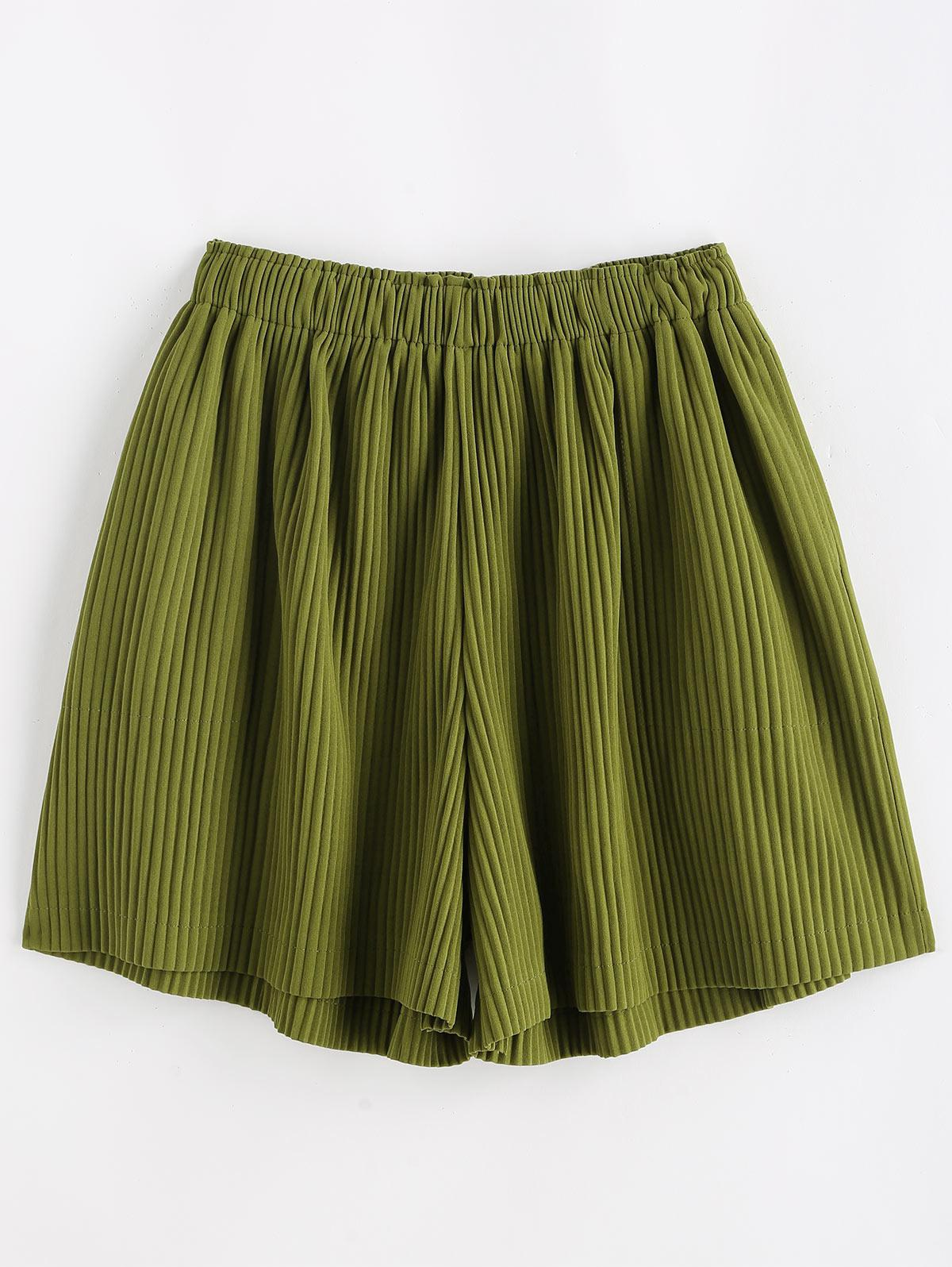 High Waisted Pleated Wide Leg Shorts
