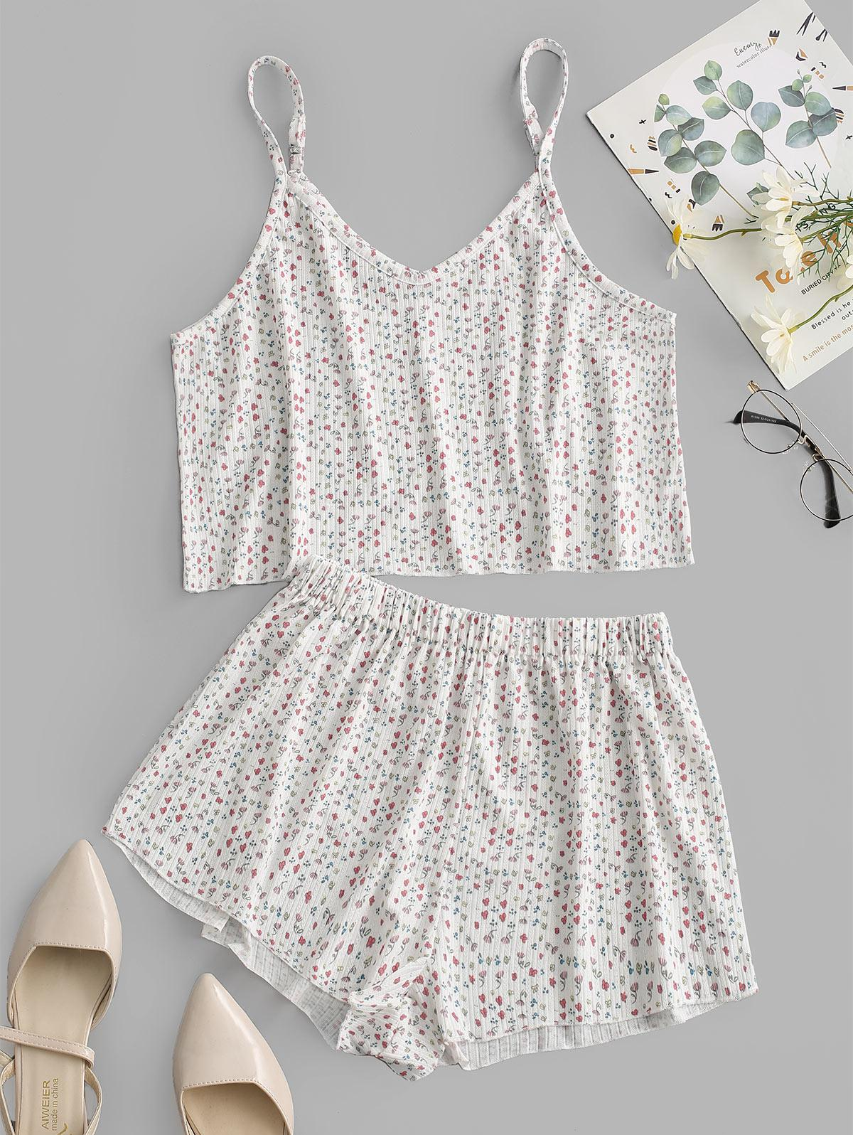 Ribbed Ditsy Floral Two Piece Pajama Set