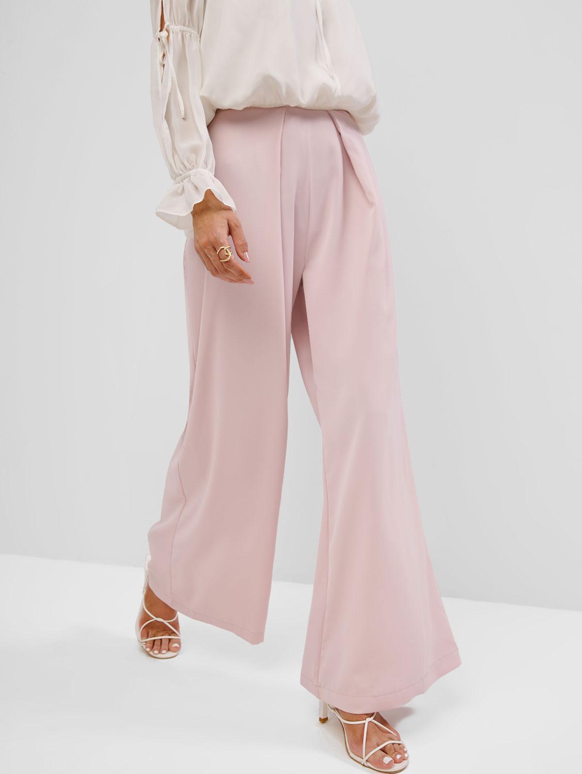 Side Zipper Solid High Waisted Wide Leg Pants