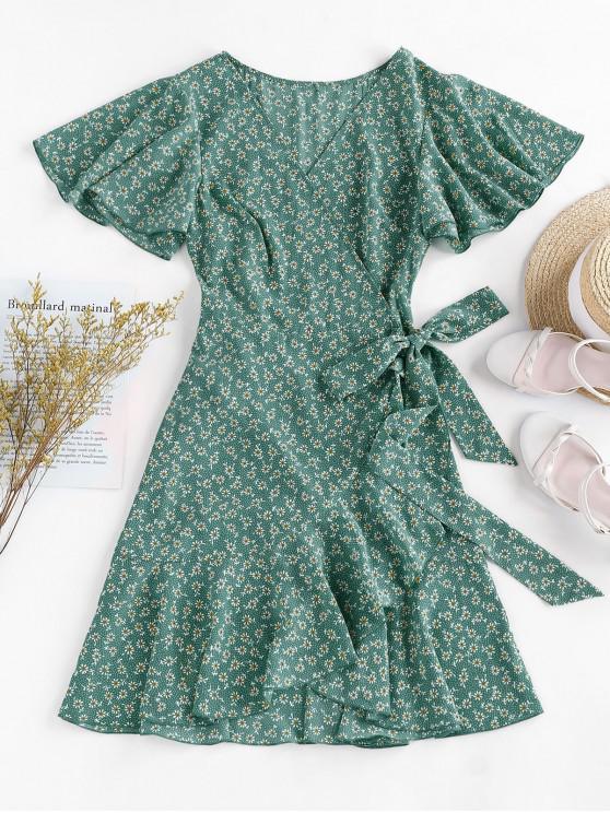 chic ZAFUL Ditsy Print Ruffle Butterfly Sleeve Tulip Dress - SEA TURTLE GREEN M