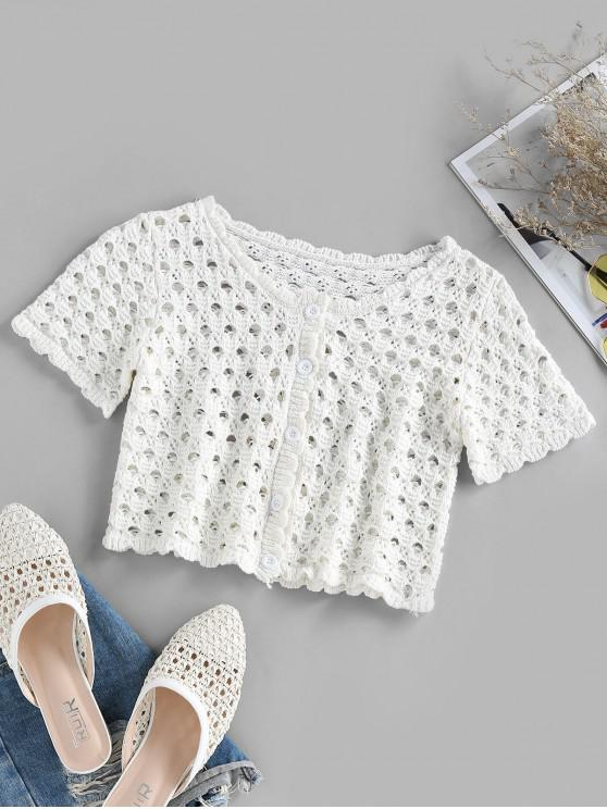 outfit ZAFUL Button Up Crochet Cropped T Shirt - WHITE S