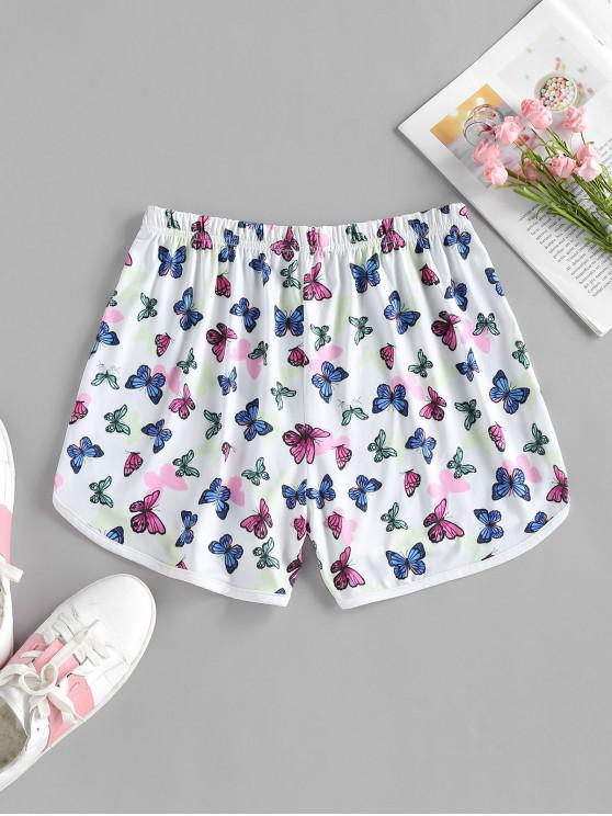 ZAFUL High Waisted Butterfly Print Dolphin Shorts - White S