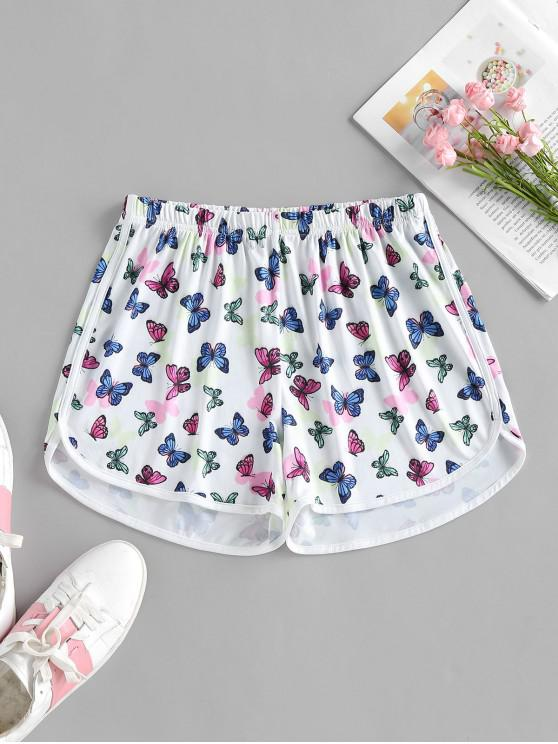 lady ZAFUL High Waisted Butterfly Print Dolphin Shorts - WHITE S