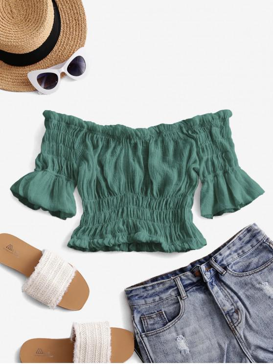 sale Solid Off Shoulder Smocked Beach Top - DEEP GREEN ONE SIZE