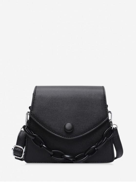 lady Chain Embellished Mini Flap Crossbody Bag - BLACK