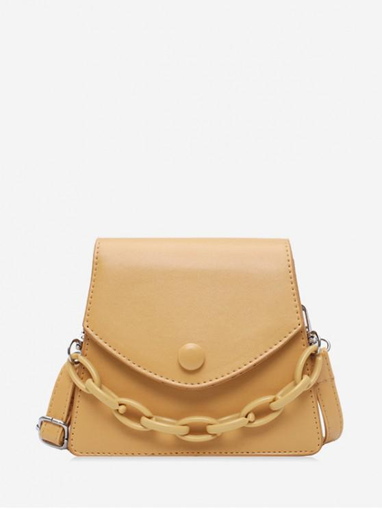 online Chain Embellished Mini Flap Crossbody Bag - KHAKI