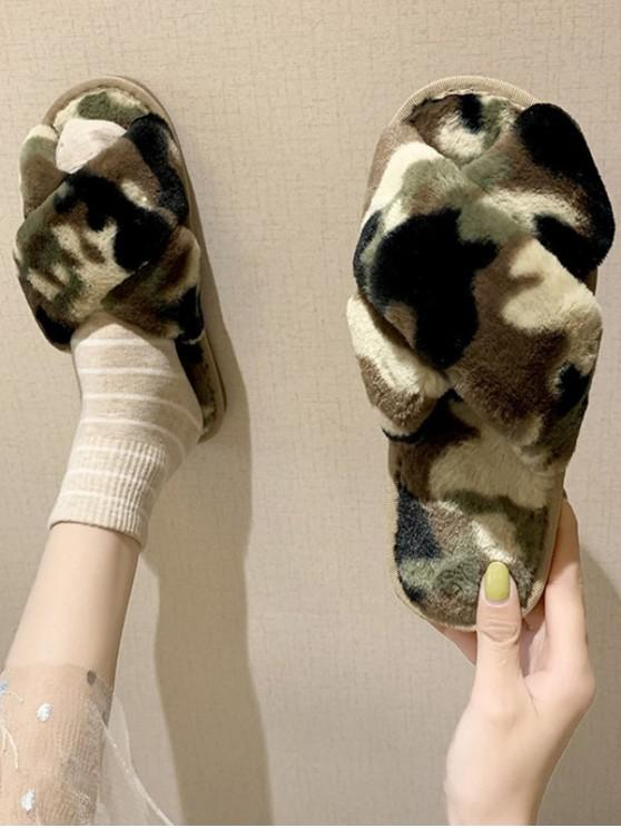 fashion Camouflage Cross Faux Fur Slippers - CAMOUFLAGE GREEN EU 37