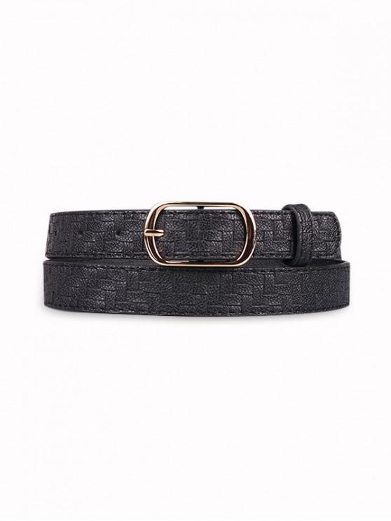Woven Pattern Pin Buckle Belt - أسود
