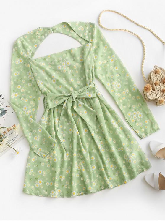 women ZAFUL Open Back Belted Daisy Print Mini Dress - LIGHT GREEN L