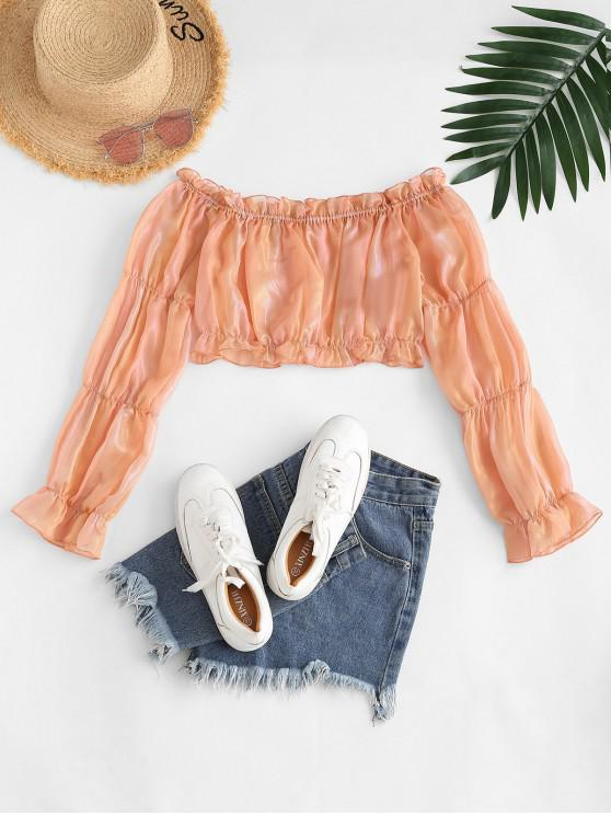 outfit ZAFUL Metallic Ruffle Off Shoulder Crop Blouse - LIGHT ORANGE M