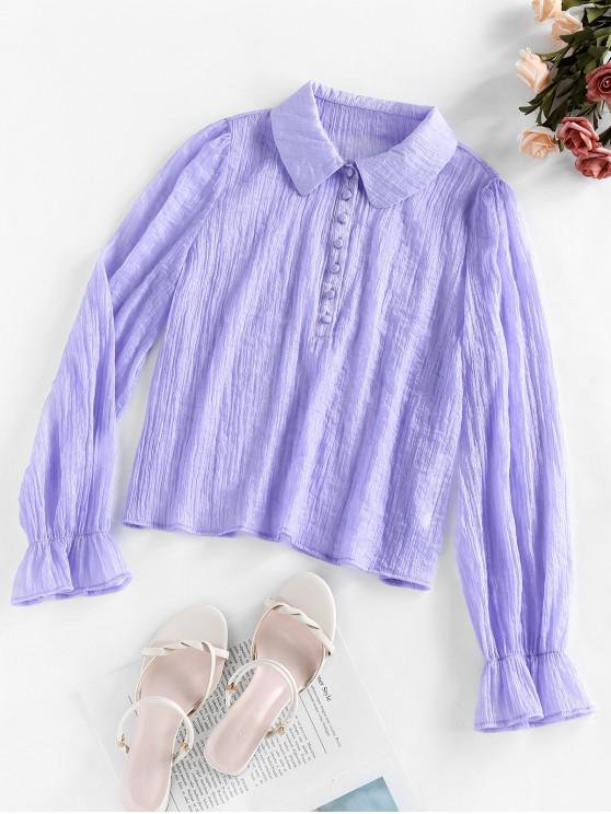 shop ZAFUL Button Poet Sleeve Blouse - LILAC S