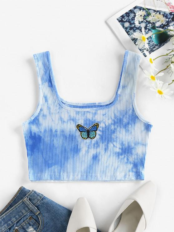 lady ZAFUL Tie Dye Butterfly Embroidered Crop Top - LIGHT BLUE S