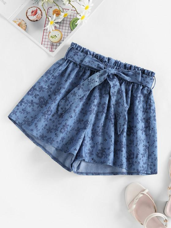 affordable ZAFUL Belted Floral Chambray Shorts - BLUE L
