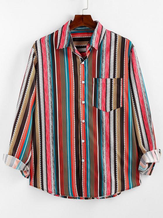 womens ZAFUL Geometric Striped Pocket Lounge Long Sleeve Shirt - MULTI 2XL