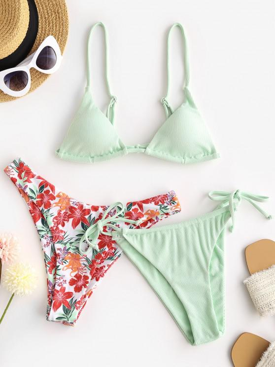 ZAFUL Floral Ribbed High Leg Three Piece Bikini Swimwear - اخضر فاتح S