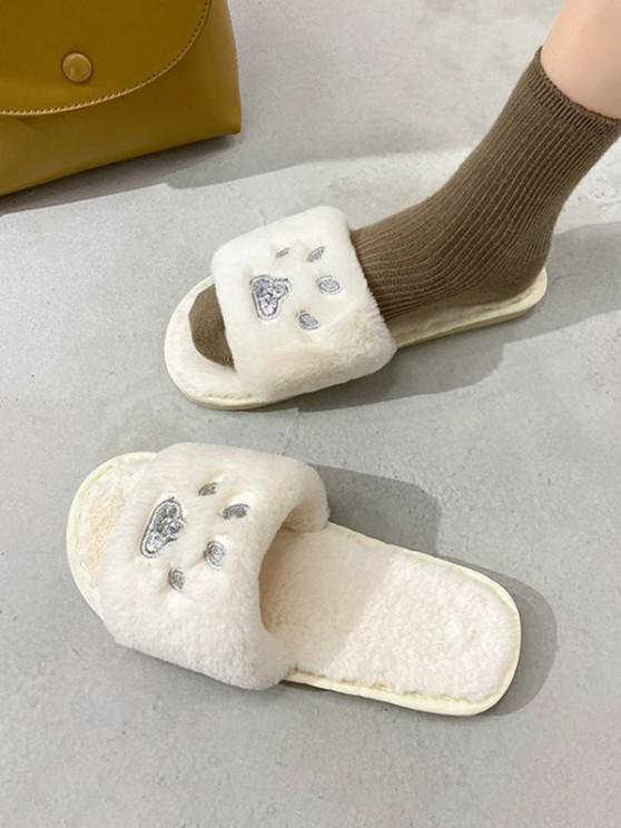 trendy Indoor Cozy Faux Fur Claw Cute Pattern Slippers - BEIGE EU 37