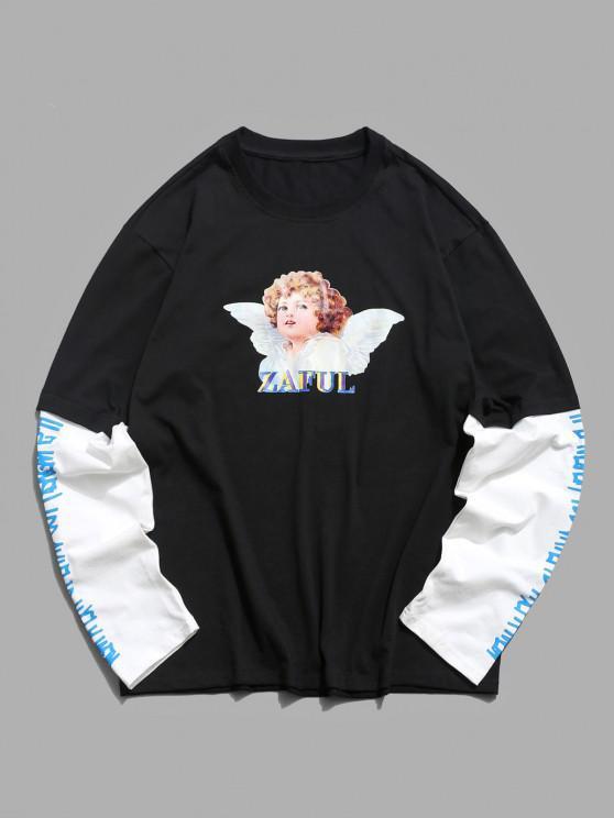 Doctor Sleeve Angel Print Casual T-shirt - أسود 2XL