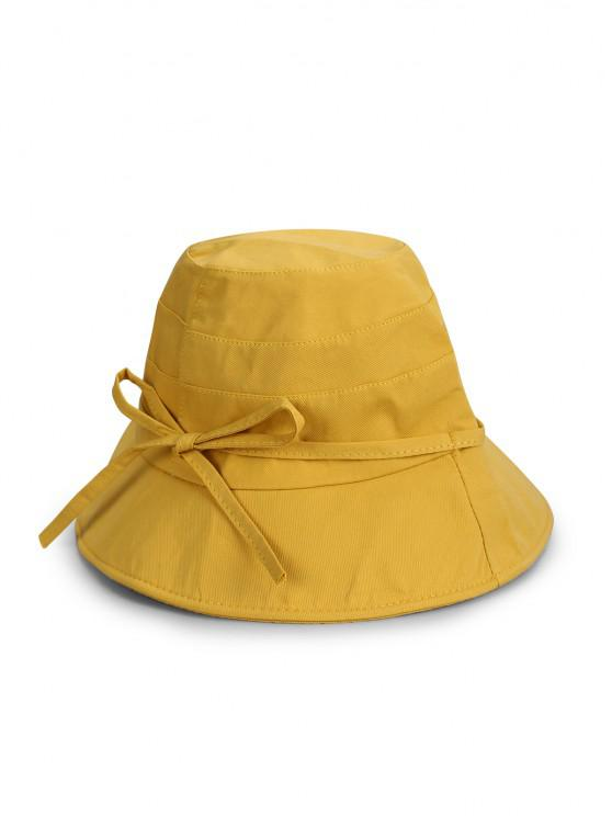 outfit Bowknot Cotton Bucket Hat - YELLOW