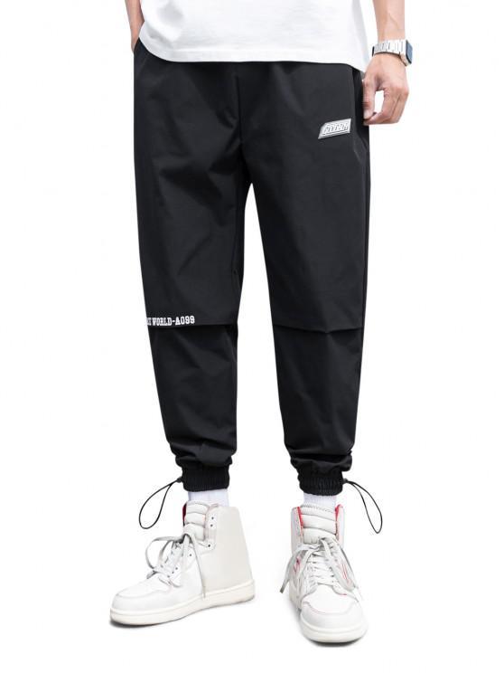 Peace World Print Elastic Waist Jogger Pants - أسود XL