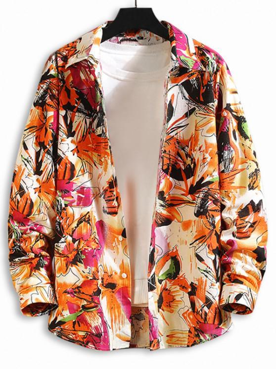 Flower Paint Print Button Up Shirt - متعددة-A 3XL
