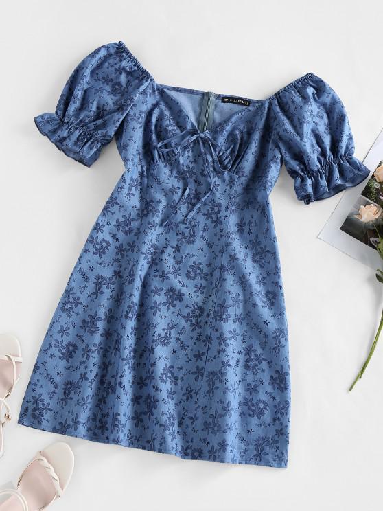 outfit ZAFUL Puff Sleeve Floral Print Mini Dress - BLUE M