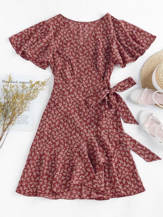 women's ZAFUL Ditsy Print Ruffle Butterfly Sleeve Tulip Dress - RED S