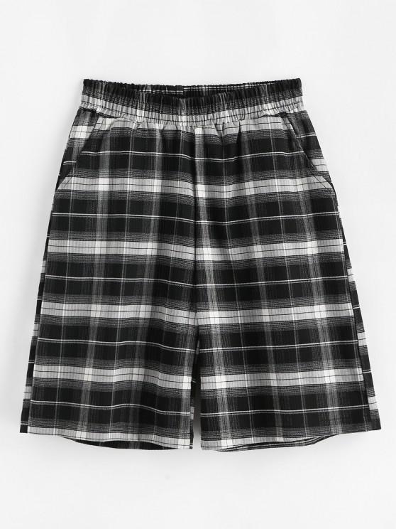sale Boyish Plaid Pocket Bermuda Shorts - BLACK XL